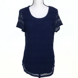 Leo & Nicole Navy Blue Lace Layered Top Large